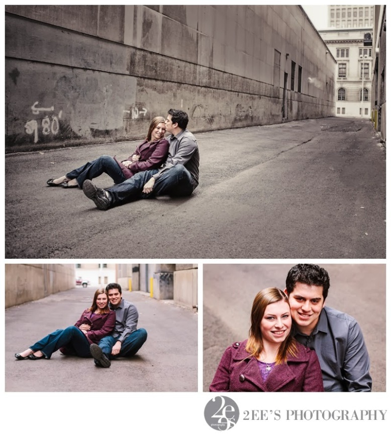 Engagement photography downtown spokane alleyway