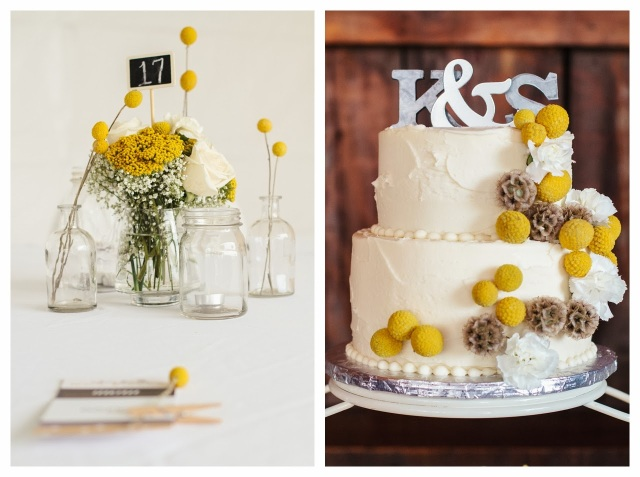 yellow, gray and white wedding details